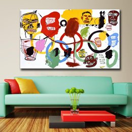 Wholesale Print Figure - 2016 Rushed New Painting Jean Michel Basquiat Olympics 1984 For Graffiti Art Print On Canvas For Home Decoration No frame