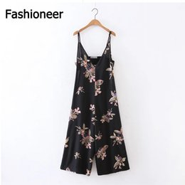 Wholesale Jumpsuit Fashion Trend - Fashioneer High-end Wide Leg Jumpsuits 2017 Fashion Trend Women Floral Printing Piece Pants Lady Loose Trousers Sexy Deep V Sling Rompers