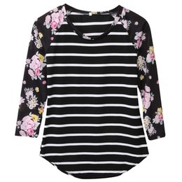 Wholesale Tshirt Femme - Wholesale- Full Sleeve Tshirts Cotton Women Striped Floral Patchwork Raglan Long Sleeve Tshirt Women Tee Shirt Femme Plus Size T-shirt