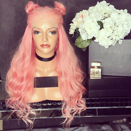 pink full lace human hair wigs Coupons - Full Lace Human Hair Wigs Pure Pink Wavy Brazilian Virgin Human Hair 150 Density Lace Front wig With Baby Hair Bleached Knots