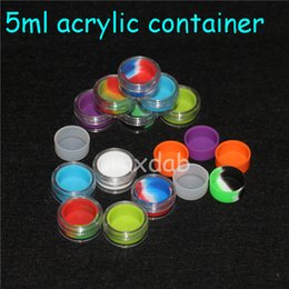 Wholesale Hard Plastic Containers - Hard cover case silicon dab wax container bho extraction silicone concentrates container with plastic cover clear acrylic oil jar