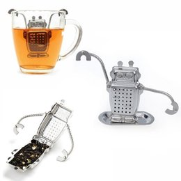 Wholesale Cute Robot Cartoon - Stainless Steel Cute Robot Tea Infuser Manufacturer Direct Recyclable Tea Strainers Tea Tools