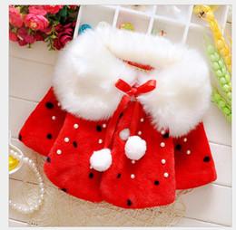 Wholesale Girls Fur Hooded Poncho - Baby Girls Wool Fur Coats Cute Winter Warm Shawl Long Sleeve Jacket Kids Girls Clothes Outwear