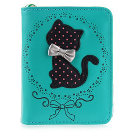 Wholesale Cat Money Purse - Guapabien Cute Ladies Small Short Cat Wallets Clutch Zipper Women Dollar Mini Wallet Wristlet Purse Carteira Portfolio Money Bag
