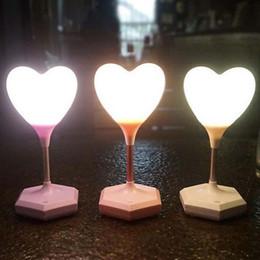 Corazón led luces mini online-2017 Hot Mini 3D Love Balloon forma de corazón Toucht-Control LED luz de la noche dormitorio lámpara envío gratis