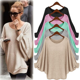 Wholesale Women Thin Sweater - 2016 Women's Sweaters Batwing Sleeve Winter Clothing Loose Cover Up Pullovers Ladies Blouse Fashion Casual Wear SF12-4
