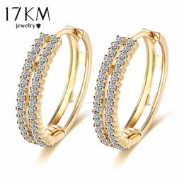 Wholesale Vintage Stud Earrings Wedding - 17KM Vintage Punk Gold Color Crystal Earrings for Women Simple Boho Wedding Jewelry Ear Cuff Brincos Statement Bijoux Femme