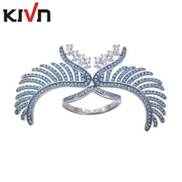 Wholesale Womens Wings - KIVN Womens Fashion Jewelry Blue Brid Angel Wing Feather Pave CZ Cubic Zirconia Wedding Engagement Rings Mothers Birthday Christmas Gifts