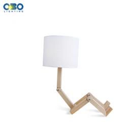 Wholesale Robot Table Lamp - Modern Robot Shape Wooden Table Lamp E27 Lamp Holder 110-240V Parlor Indoor Study Desktop Lighting Free Shipping