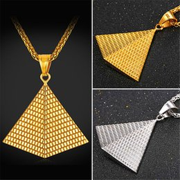 Wholesale Vintage Pendants For Necklaces - U7 New Illuminati Vintage Jewelry Fashion Stainless Steel Charms Golden Egyptian Pyramid Pendant Necklaces for Women Men Colar Perfect Gift