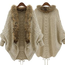 Wholesale Faux Collar Sweater - Wholesale- Women Faux Fur Collar Batwing Sleeve Loose Casual Warm Cardigan Shawl Sweater