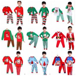 Wholesale Wholesale Kids Nightwear - Kids Christmas Pajama Sets Xmas Santa Claus Sleepsuits Elk Tree Sleepwear Cartoon Long Sleeve Nightwear Snowman Night Suits Sleepwear B2851