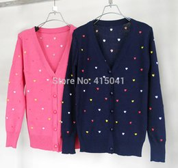Wholesale Heart Sweater Cardigan - Wholesale-Free shipping 2015 New Fashion Women Colored Love Hearts Embroidery Sweater Coat V-Neck Long-Sleeve Cardigan Knitted Coat