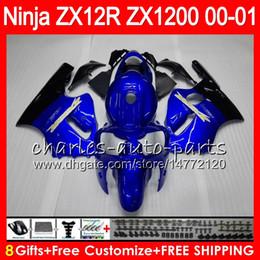 8Gifts 23Colors Per KAWASAKI NINJA ZX 12 R ZX12R 00 01 02 50HM9 ZX1200 blu nero C ZX1200C ZX 1200 ZX 12R ZX-12R 2000 2001 2002 Carena cheap zx12r blue da zx12r blu fornitori