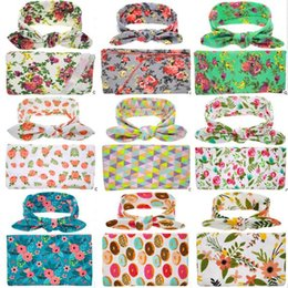 Wholesale Wholesale Unisex Headbands - 2017 New Newborn Baby Floral Receiving Blankets Swaddling Cotton Blankets With Headband Photography props 90*90cm PJ008