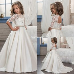 Wholesale Girls Holy Dress - 2017 Custom Princess Half Sleeve Holy Lace White Communion Dress Little Girls Beaded Pearls Party Dress Kids Wedding Flower Girls Dresses