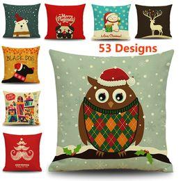 Wholesale Hotels Bear - 45*45cm Christmas Pillow Case Santa Claus Reindeer Owl Tree Elk Bear Cat Dog Printed Cushion Cover Home Car Sofa Decor Decoratio XL-237