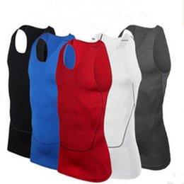 Wholesale Tight Gym Shirts Men - 2017 Fashion Basketball Vests men Pro compression tank top gym fitness running vests male tights sports sleeveless T-shirt Gym clothing Hot