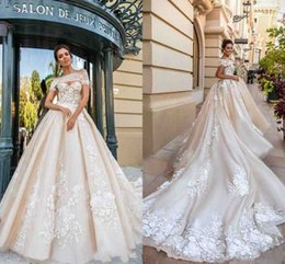 Wholesale Designer Cathedral Wedding Gowns - 2018 Gorgeous Designer Wedding Dresses 3D Floral Applique Cathedral Train Lace Up Back Luxury Bridal Gowns Custom Made