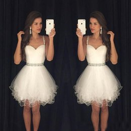 Wholesale Organza Brooch - White 2017 Short Prom Dresses Modest Graduation Homecoming Dresses Cheap Spaghetti Straps Beaded Crystals Ruffles Party Gowns