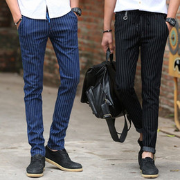 Wholesale Motorcycle Overalls - Wholesale-2016 summer brand clothing skinny jeans men's casual pants feet pants motorcycle pants mens overalls fashion WZ111