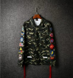 Wholesale Coat Tie Casual - New off white jacket tie dyed striped jacket Men and women casual Bomber Coat yeeus yeezus military uniform Camouflage Outerwear