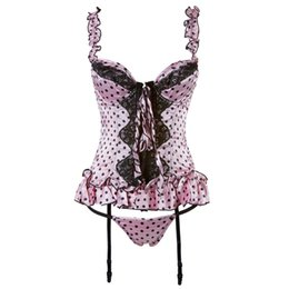 Wholesale Wholesale Plus Size Satin Robes - Corsets Dress Dot Prints See-through Mesh Robe Satin Suspender G-string Sexy Underwear Soutien-gorge Plus Size Costume XXXL For Women Purple