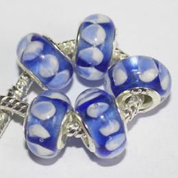 Wholesale Murano Heart Blue - 5Pcs 925 Sterling Silver Elegant Blue Heart Murano Lampwork Glass Charm Beads For Pandora European Jewelry Charms Bracelet DIY Woman Xmas