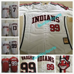 "Wholesale Major League Baseballs - The ""Major League"" Movie Jersey #99 Rick Vaughn #13 Pedro Cerrano #7 Jake Taylor White Red Mens Indians Throwback Baseball Jersey"