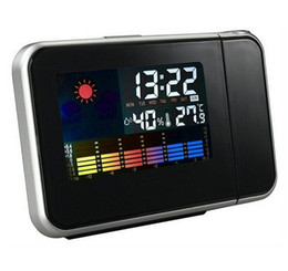 Wholesale Digital Projector Led Alarm Clock - Digital LED Display Projector Battery Powered Time Alarm Clock Weather Temperature Humidity with Backlights Freeshipping
