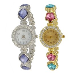 Wholesale Power Bracelets Crystal - idealway European Fashion Style Silver Gold Watch Women Bracelet Charming Rhinestone Crystal Flower Alloy Bracelets wristwatch Clock