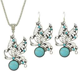 Wholesale Turquoise Wedding Jewelry Set - Imitation Turquoise Rhinestone Butterfly Shape Fashion Jewelry Set