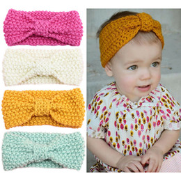 Wholesale Headbands Ears - Winter baby hair accessories wholesale children's bohemian hair band knitting wool ear protection caps Baby turban baby headband