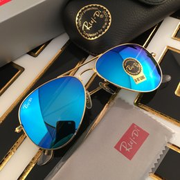Wholesale Framing Mirrors - Brand Designer Sunglasses Classic Pilot Sunglasses for Men Women UV400 Metal Frame Flash Mirror Glass Lenses 58mm 62mm with Original Box