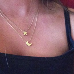 Wholesale Girls Xmas Gifts - Romantic Moon and Star Pendant Necklace Gold & Silver Plated Charm Necklaces Women Girls Double Chain Choker Fine Jewerly Xmas Gift A287