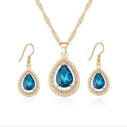Wholesale Teardrop Blue Rhinestone - 18K Gold Plated Crystal Paved Created Ruby Emerald Sapphire Teardrop Dangle Earrings Chain Necklace Jewelry Sets for Women Gift