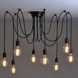 Wholesale Large Bulb Pendant Light - 8 Heads Pendant Lamp Modern Vintage Edison Bulbs Bar Restaurant Bedrooms Large Home Art Pendant Lights Portable Lante