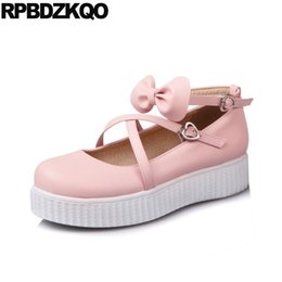 Wholesale Metal Buckle Bow Shoes - Metal 2017 Japanese Pink Round Toe 10 Women Flats Shoes With Little Cute Bowtie Large Size Embellished Ankle Strap Bow Custom