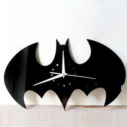Wholesale Digital Wall Clock Pieces - Halloween Stickers Living Room Wall Clock Creative DIY Wall Clock Watch Batman Acrylic Wall Clock Home Decoration Craft