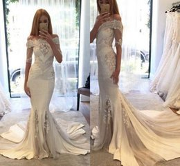 Wholesale Cheap Couture Gowns - 2017 Glamorous Berta pallas Couture Spring Collection Off Shoulder Lace Mermaid 2016 Wedding Dresses With Half Sleeves Cheap Bridal Gowns