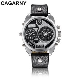 Wholesale Double Chronograph Watch Men - Double luxury brand new men watch machine core working man watches leather belt big dial military men watch quartz clock