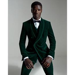 Wholesale Dark Green Suit Coat - 2018 Latest Coat Pant Designs Dark Green Velour Slim Fit Men Suit Set Groom Tuxedo Velvet Party Prom Wedding Suits 3Pcs (Jacket+Pants+Vest)