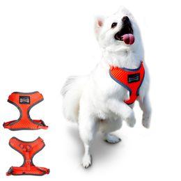Wholesale Pet Leash Reflective - New Arrival Dog Harness Leash Reflective Light Air Permeable Dog Harness 4 Sizes With Pets Collar Leash Harness Set 4 Colors Fashion Design