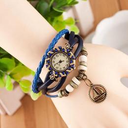 Wholesale Dimond Watches - 2015 100pcs lot fashion women ladies bracelets watches retro vintage leather dimond boat sails pendant quartz watches for women