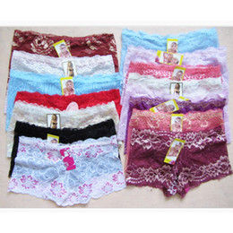 Wholesale French Intimates Lingerie - 120PCS Wholesale Women Boxers Underwear Sexy Full Lace French Panties Shorts Boyshort Ladies Knickers Intimates Lingerie for Women