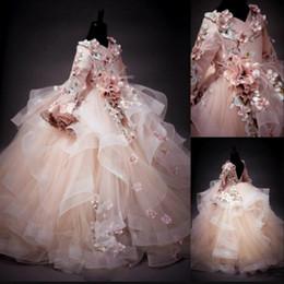 Wholesale Images Birthday Gown For Kids - Long Sleeves Flower Girl Dresses Floral Applique V-Neck Lace-Up Fluffy Ball Gown For Girl's Birthday Pretty Communion Dress Kids Formal Wear