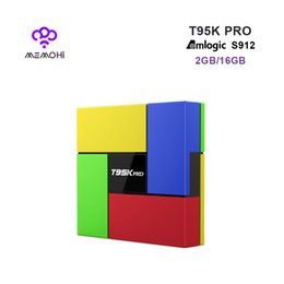 Wholesale Dual Core 2ghz - 10pcs T95K PRO Android 7.1 Smart TV Box Amlogic S912 Octa-core 2GHz 2GB 16GB Dual HDMI WIFI Bluetooth 4.0 UHD 4K Media Player