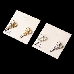 Wholesale Smallest Stud Earrings - 2016 New Design Fashion Simple Gold and SIlver plated small scissor Stud earrings for women Jewelry accessories Wholesale