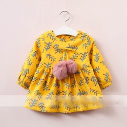 Wholesale Bow Left - Everweekend Girls Bow Ball Tree Leaves Print Ruffles Dress Cute Baby Yellow and Red Color Clothes Princess Fleece Lining Clothes
