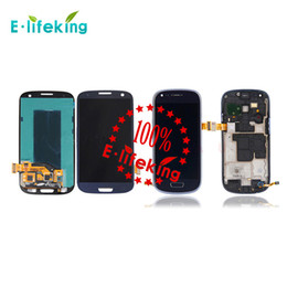 Wholesale S3 Screen White - Excellent For Samsung For Galaxy S3 Mini I8190 Lcd Digitizer Display Screen Assembly Grey or white with Frame Free Shipping